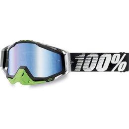 Black, White 100% Racecraft Metallic Lime Goggles With Blue Mirror Lens 2014 Black White