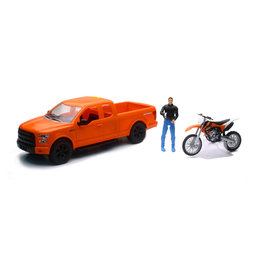 New Ray Toys 1:14 Scale B/O Ford F-150 & KTM 350 SXF Dirt Bike Toy Orange 02216C Orange