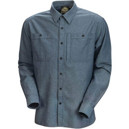 RSD Mens Wyatt Cotton Long Sleeve Button Up Shirt Blue