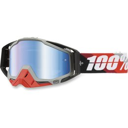 Red 100% Racecraft Prium Goggles With Blue Mirror Lens 2014