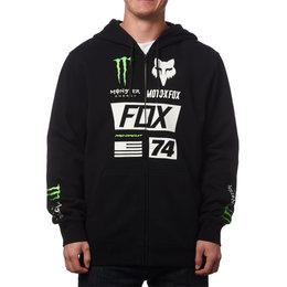 Fox Racing Mens Monster Energy Union Zip Front Motocross Hoody Sweatshirt Black