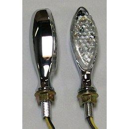 Chrome Bodies, Clear Lenses Dmp Led Marker Lights Long Oval Chrome Clear