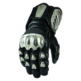 Icon Mens TiMax Long Gauntlet Leather Gloves With Titanium Knuckles Black Black