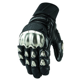 Icon Mens TiMax Short Leather Gloves With Titanium Knuckles Black Black