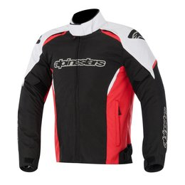 Black, White, Red Alpinestars Mens Gunner Waterproof Textile Jacket 2015 Black White Red