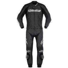 Black Alpinestars Carver 2 Pc Leather Suit Eu 48
