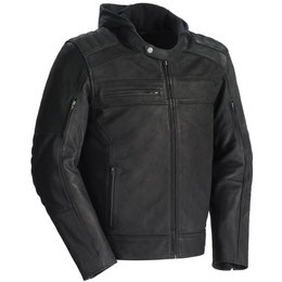 Tour Master Mens Blacktop Armored Leather Jacket With Hood Black