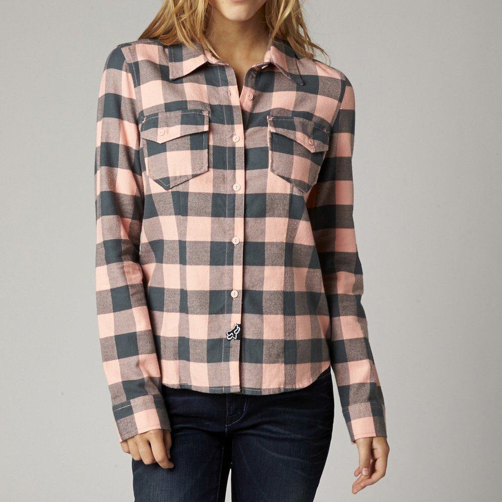 Fox racing womens compass long sleeve flannel 196758 for Types of flannel shirts