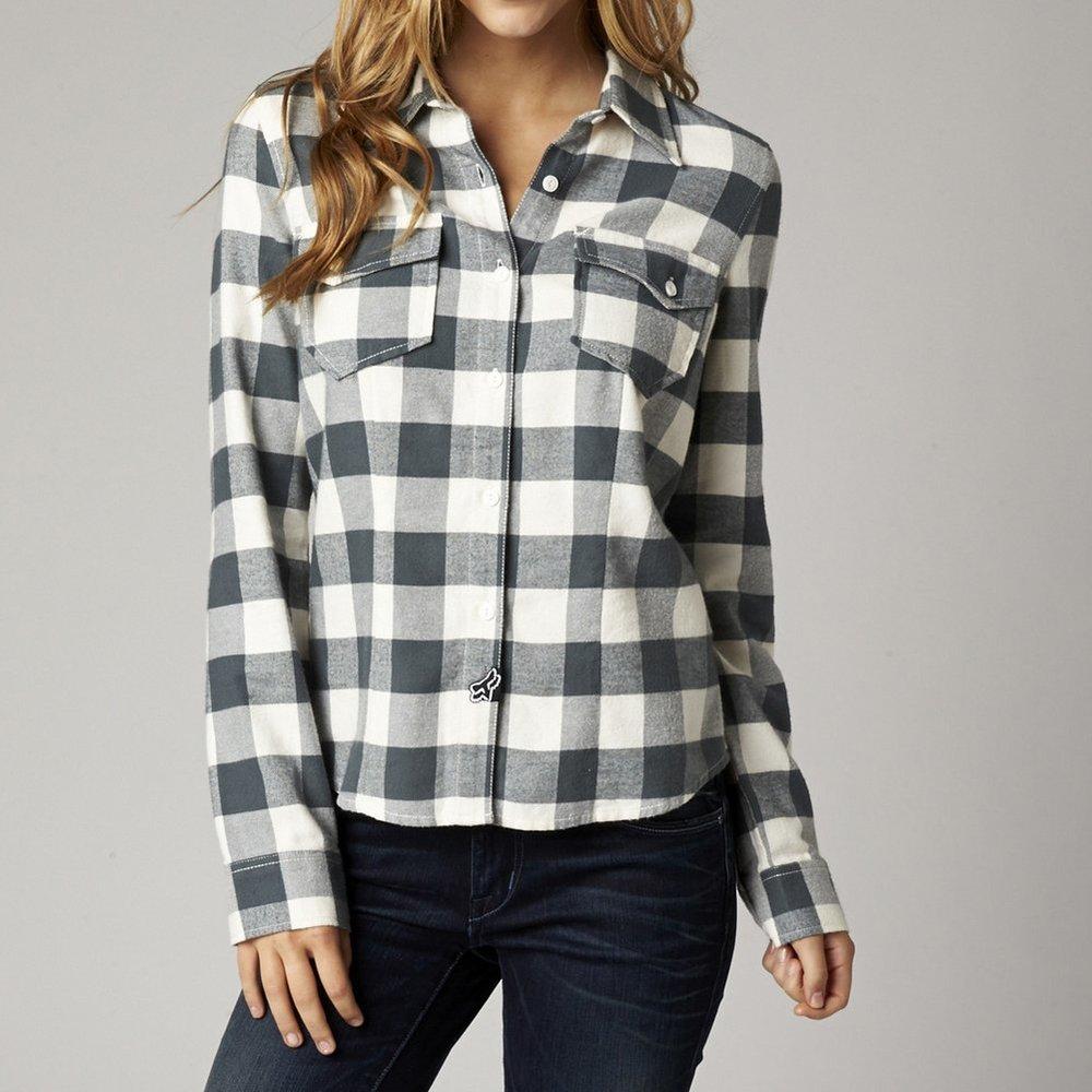 Fox racing womens compass long sleeve flannel 196758 for Plaid shirts for women