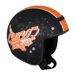 Z1R Jimmy Chico Open Face 3/4 Motorcycle Helmet With Snaps Black