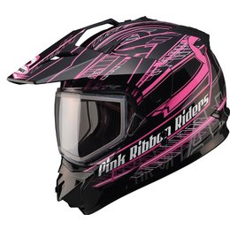 GMax Womens GM11S Pink Ribbon Sport Snow Helmet With Dual Pane Shield Black