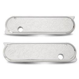 Chrome Arlen Ness Saddlebag Latch Covers Engraved For Hd Fltr Flhr T X 1993-2012