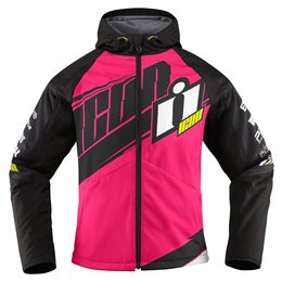 Icon Womens Team Merc Armored Hooded Softshell Motorcycle Riding Jacket Pink