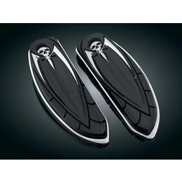 Chrome/black Kuryakyn Zombie Style Driver Floorboard Covers For Harley