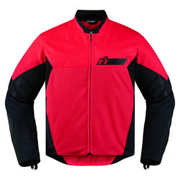 Icon Mens Konflict Armored Textile Street Riding Jacket Red