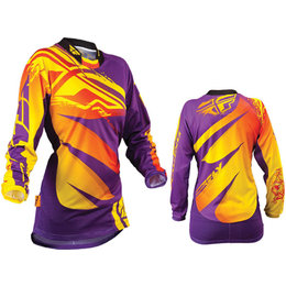 Purple, Yellow Fly Racing Youth Girls Kinetic Jersey Purple Yellow