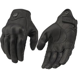 Black Icon Pursuit Leather Motorcycle Gloves