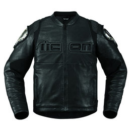 Icon Mens TiMax Armored Leather Street Riding Jacket Black Black