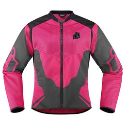 Icon Womens Anthem 2 Armored Fighter Mesh Motorcycle Riding Jacket Pink