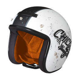 Z1R Jimmy Chico Open Face 3/4 Motorcycle Helmet With Snaps White