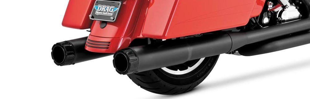 Vance & Hines Hi-Output Carbon Black Dual Slip-On Exhaust For Harley 46465  ...