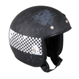 Z1R Jimmy Distressed Checker Open Face 3/4 Motorcycle Helmet With Snaps Black