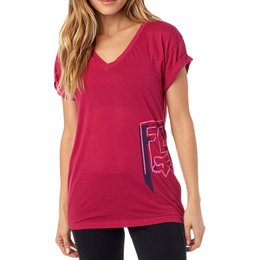 Fox Racing Womens Daunting Rolled Sleeve Deep V-Neck Motocross T-Shirt Red