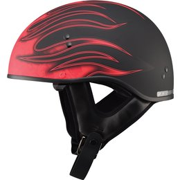 GMax GM65 Skull Flame Naked Half Helmet Black