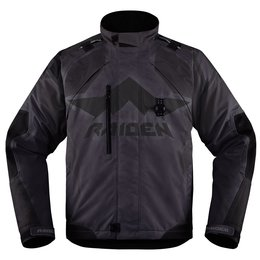 Icon Mens Raiden DKR Armored Waterproof Textile Motorcycle Riding Jacket Black