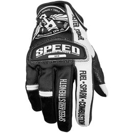 Black, White Speed & Strength Top Dead Center Leather Mesh Gloves 2013 Black White