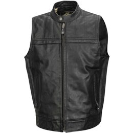 RSD Mens Colt Quilted Shoulder Leather Vest Black