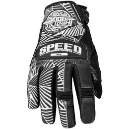 Black, White Speed & Strength Womens Throttle Body Leather Mesh Gloves 2013 Black White Sm