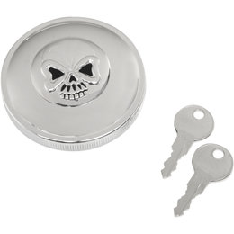 Drag Specialties Skull Locking Vented Gas Cap For Harley Chrome 0703-0689