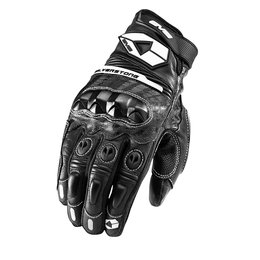 Black, White Evs Mens Silverstone Leather Gloves 2013 Black White