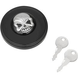 Drag Specialties Skull Locking Vented Gas Cap For Harley Black Chrome 0703-0691