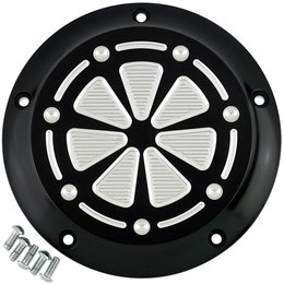 Joker Machine Tech 5-Hole Derby Cover For Harley Touring Black Silver 06-960-5BS Black