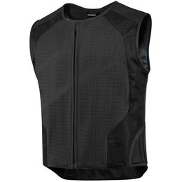 Icon Mens Hypersport Stripped Armored Leather Vest Black