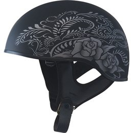 Flat Black, Silver Gmax Womens Gm65 Rose Naked Half Helmet 2013 Flat Black Silver