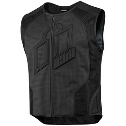 Icon Mens Hypersport Prime Armored Leather Vest Black