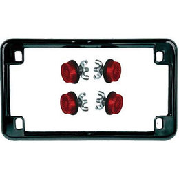 Black Frame/red Reflectors Chris Products License Plate Frame Black With Red Reflectors
