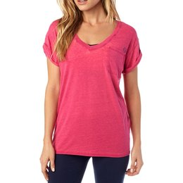 Fox Racing Womens Whirlwind Rolled Sleeve Deep V-Neck Motocross T-Shirt Pink