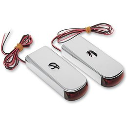 Chrome Body/red Led/red Lens Alloy Art Led Fender Marker Lights Chrome Red For Harley Softail