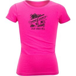 Fly Racing Youth Girls Crayon Crew Neck T-Shirt Pink