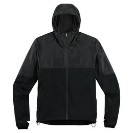 Icon Mens Chamfer Polyester & Fleece Hooded Casual Jacket Black