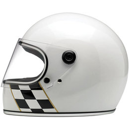 Biltwell Limited Edition Gringo Checker Stripe Full Face Helmet White