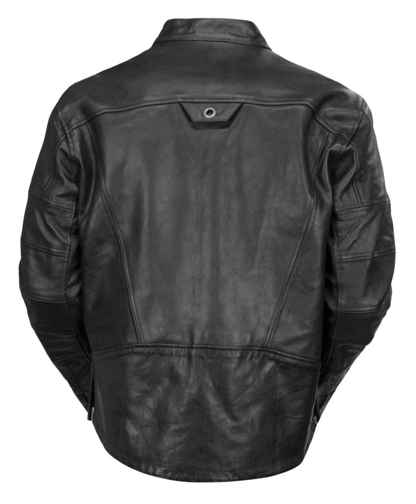 Black leather riding jacket