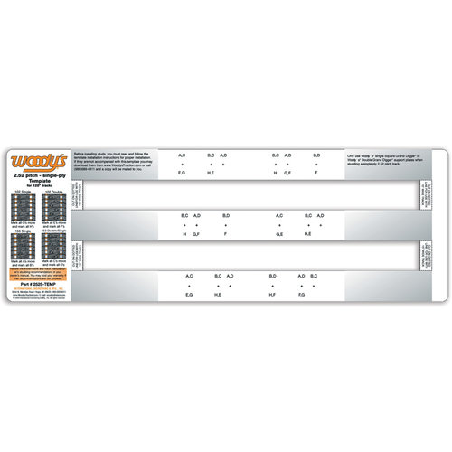 16 Inch Wide two-ply Tracks LONG-TEMP-2 Woodys Studding Template for 15 Inch