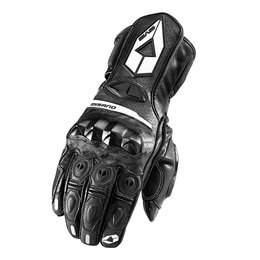Black, White Evs Mens Misano Leather Gloves 2013 Black White