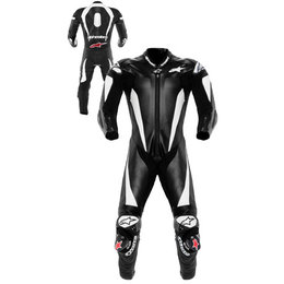 Black, White Alpinestars Racing Replica One Piece Leather Suit Black White Us 36 Eu 46
