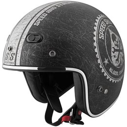 Black, Silver Speed & Strength Ss600 Speed Shop Open Face Helmet 2013 Black Silver